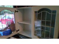 3 glass door kitchen cabinets