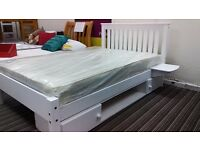 £190!! 4ft White Shaker Style bedframe, bedside shelves and underbed storage unit - local delivery