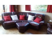 4 seater curved leather reclining sofa, chair and pouffe