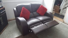 3 seater and 2 seater recliner couch in used condition selling due to getting a new one.