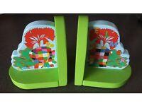 Elmer Wooden Book Ends - Lovely Children's room / Nursery Decoration