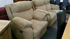 Beige fabric electric reclining 2 piece suite