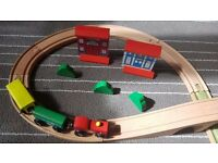 Wooden Train Track Railway Set, with Train, Bridge, Track and Scenery
