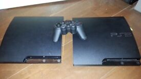 TWO Sony PlayStation 3 Slim CONSOLES PLUS 1 GAME (SPARES / REPAIRS)