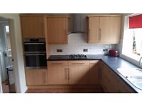 Kitchen units and apliances for sale ( B&Q beech lam), AEG 2x oven and gas hob,Mwave,washer &drier