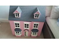 Childs wooden dolls house with le toy van car and furniture and dolls