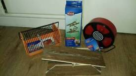 New Hamster bridge, wheel, seesaw and small animal carrier