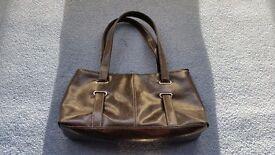 F&F Dark Brown Handbag, Shoulder Handbag, Zips, Good condition, Contact me soon as, Cheap price £4