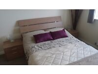 Modern oak veneer double bedframe, 2 x side tables and 2 x 6 drawer tall units - £100!!!!!!