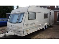 6 berth fixed bunk bed touring caravan