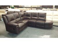 Ex-display Diablo brown leather manual recliner corner sofa