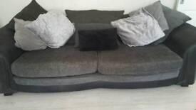 Large grey fabric 3 seater sofa