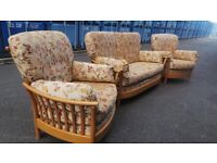 Ercol Renaissance Three piece Suite,Light Wood frame,Possible Delivery