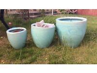 Large terracotta garden plant pots glazed