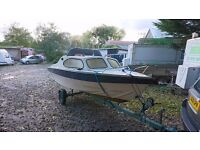 Shetland boat with solar and outboard plus trailer