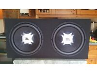 """Massive JBL Subwoofer (2x 12"""" Cones) AND Auna 4 Channel Amplifier (2400w) AND £30 cable pack"""