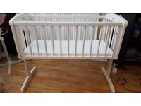 Mothercare White Swinging Baby Crib & Mattress (New)