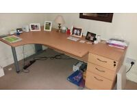 solid comouter desk and three draw storage unit