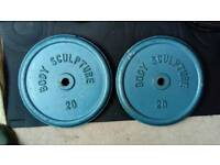 2 x 20kg Body Sculpture metal weight plates