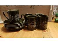 Vintage portmeirion totem cups and saucers x4