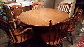 Solid Oak Tanbark Finish Dining Room table set Vintage