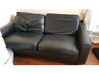 Black leather soda - 2 seater