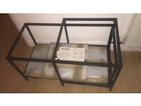 Glass and metal frame nestling coffee tables (set)