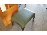 Green leather effect/ wooden piano stool