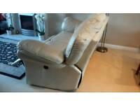 Large 3 & 2 seater cream leather sofa's