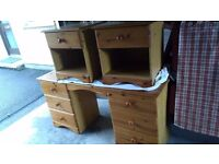 Pine dressing table and matching bedside tables
