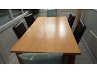 Oak Veneer dining table with 4 Chocolate Brown chairs
