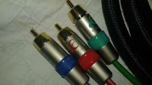 RCA 4 meter long high quality braided, color coded 3 set Cables