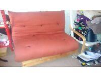 Double Futon sofa wooden red