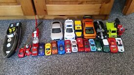Lots of small toys - cars, boat, helicopter. Great for handbag distraction.