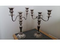 Candelabra Pair (3 pronged) Silver Plate on Copper