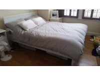 Ikea white Brusali double bed