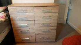 Chest of drawers 10 drawers oak finish bedroom
