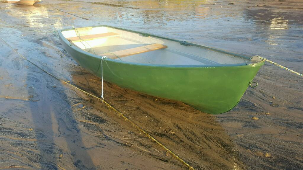 12ft Fiberglass Rowing Boat Dinghy Fishing Boat In