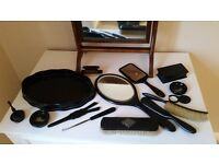 Vintage antique ebony dressing table set (14 pieces)