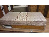 Vintage Single Bed With Storage & Mattress