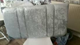 Silver crushed velvet headboard