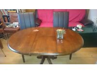 Hudson Dark Wood Extending Dining Table - with 4 Carrick Brown Chairs