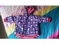 12 - 18 months Girls Reversable waterproof Jacket with fleece lining