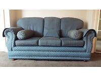 3 Seater sofa in patterned blue shade fabric and firm cushions