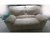 Cream leather 2 seater sofa from DFS