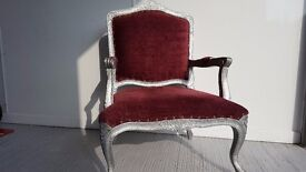 Antique style wide armchairs in royal red or chocolate brown