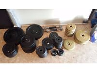 £225 - 169KG WEIGHT PLATES + NEW BARBELL + 2 DUMBBELL BARS