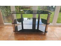 3 Shelves Black Glass TV Unit/TV Stand/TV Table