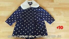 Girls blue and white spotty coat with furry collar 1.5 - 2 years BRAND NEW with tags