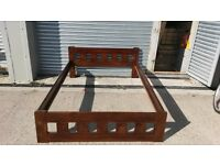 Double bed frame 4ft6 solid pine wood - dark mahogany coulour